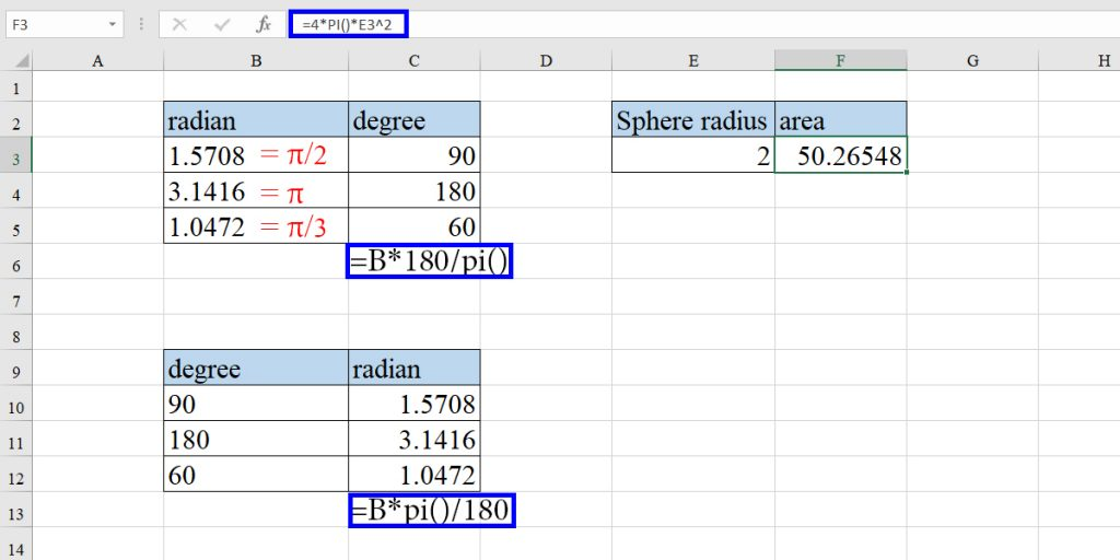 Examples of PI in Excel formula