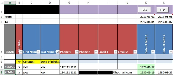 Organizing Entries in Microsoft Excel