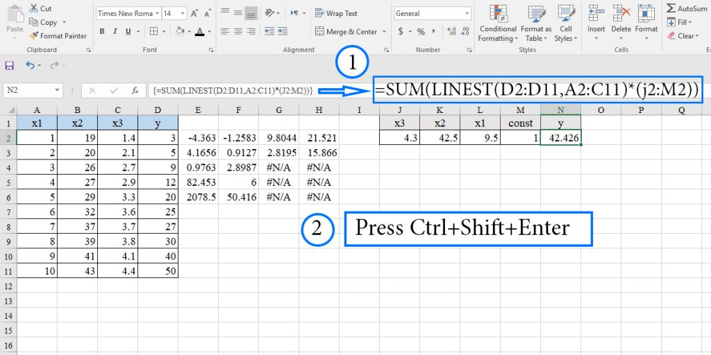 How to predict dependent variable in multiple linear regression by entering x value in a cell using the LINEST function