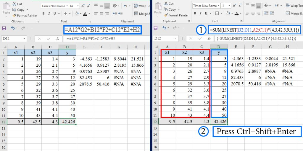 How to predict dependent variable in multiple linear regression using the LINEST function