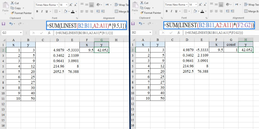 How to predict dependent variable in simple linear regression using the LINEST function in Excel