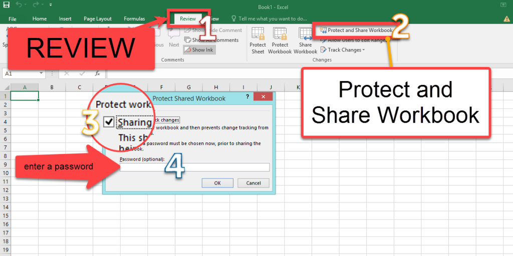 protect the shared workbook with a password in Exce