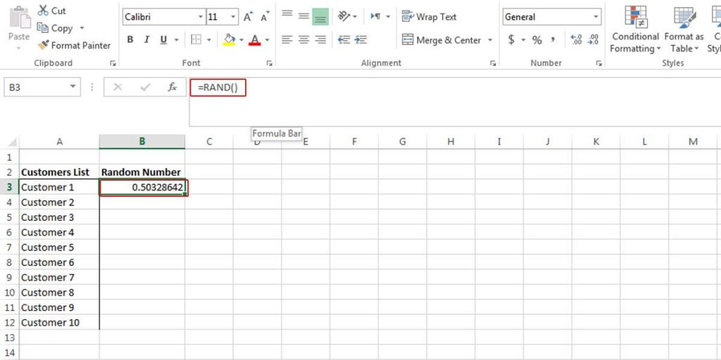 Allocating a random number using RAND function.