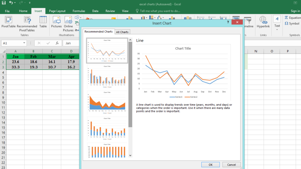 Excel analyzes the data and offers you a suitable chart.