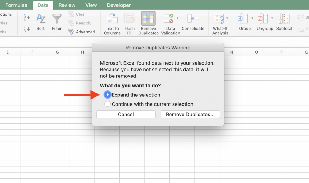 Remove duplicates warning window in excel