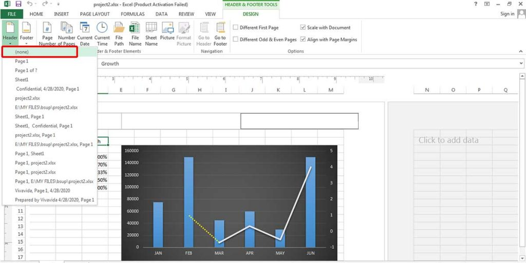 Removing a header in Excel