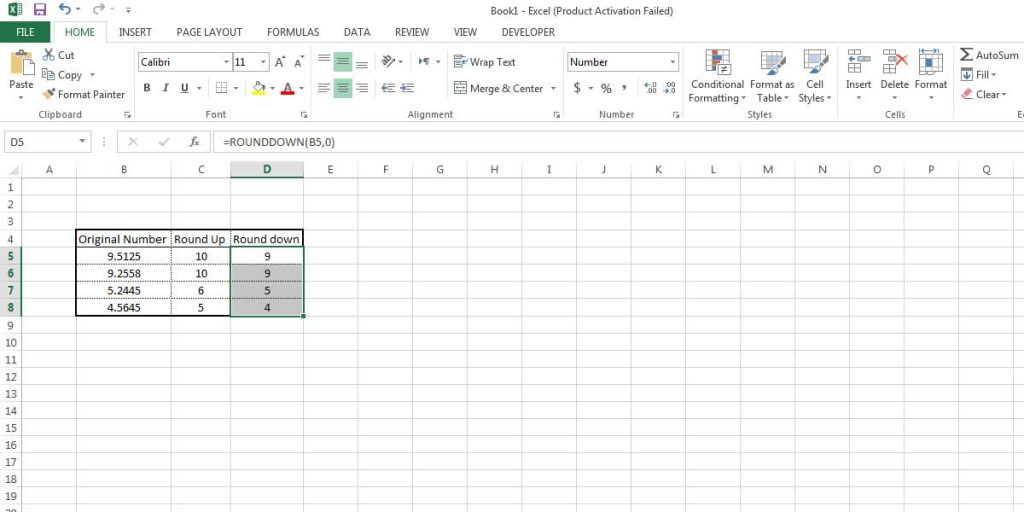 See the difference between Round Up and Round Down functions in Excel.