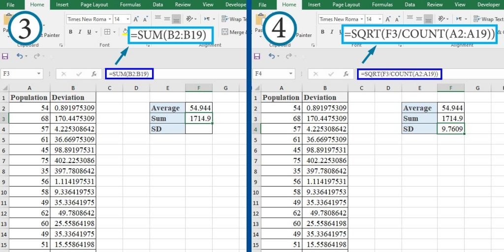 How to calculate the Standard Deviation of a Population Using Mathematical Formula in Excel