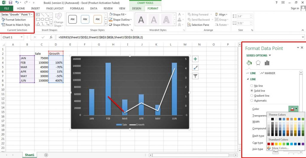 You can give any style or color to the added secondary axis in Excel.