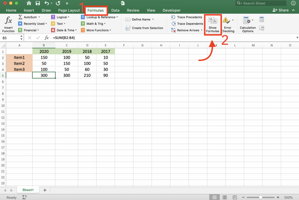 show formula option on the Excel Ribbon in formula tab to show formulas in excel