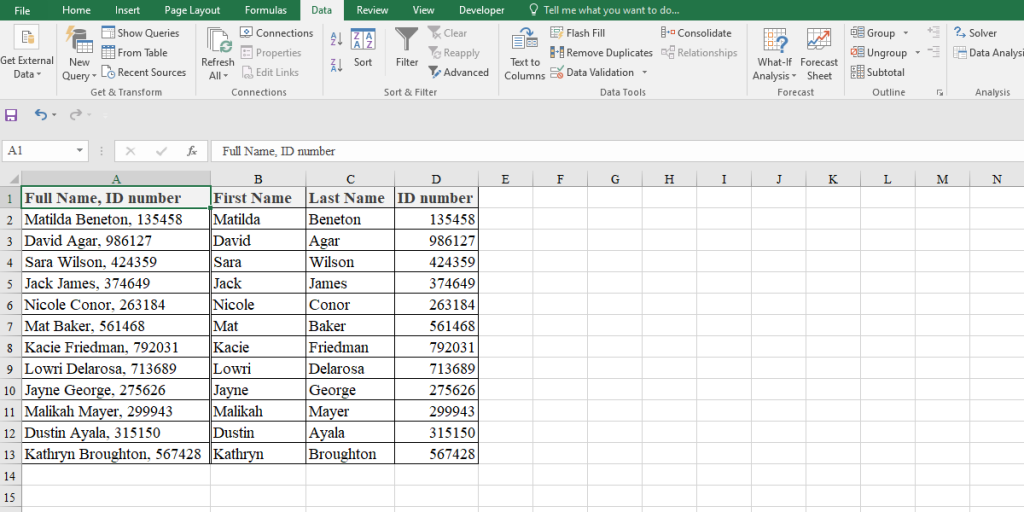 splitted cells in Excel