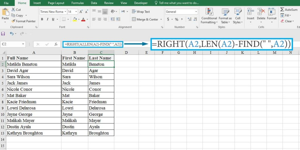 How to extract the last names from the full name in Excel