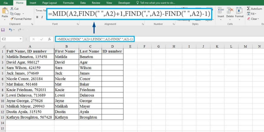 How to extract the last names from a list with commas in Excel