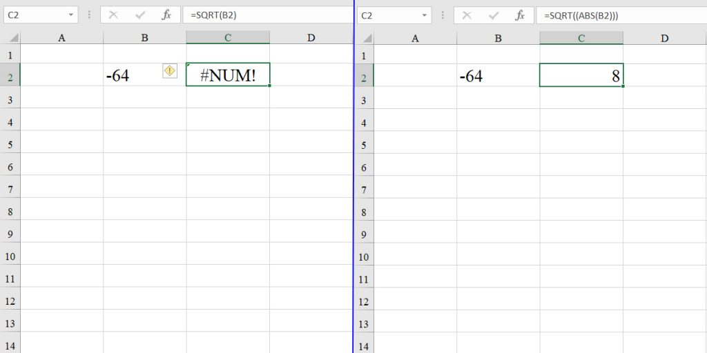 Getting the square root of a negative number using the ABS function and SQRT function