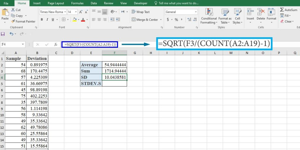 How to calculate the standard deviation of a sample using a mathematical formula in Excel