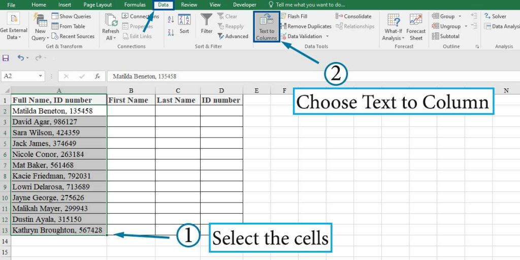 How to open Text to Column wizard in Excel
