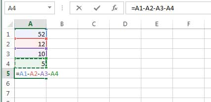 subtracting the value of multiple cells in Excel