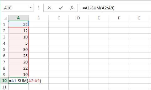 subtracting in excel, =A1-SUM (A2:A19)