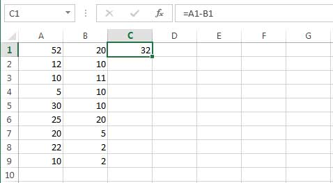 subtracting the values of two columns from one another 1