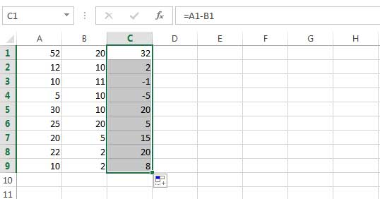 subtracting the values of two columns from one another 2