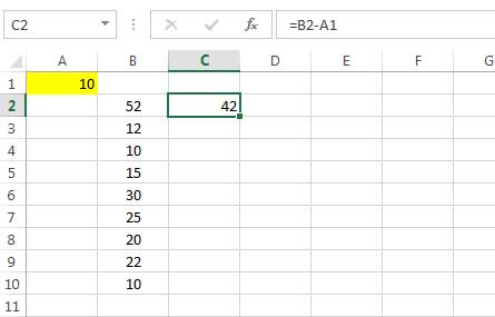 subtracting a number from the values of a column 1