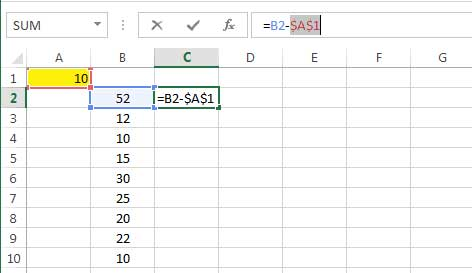 subtracting a number from the values of a column 2 fixing the number