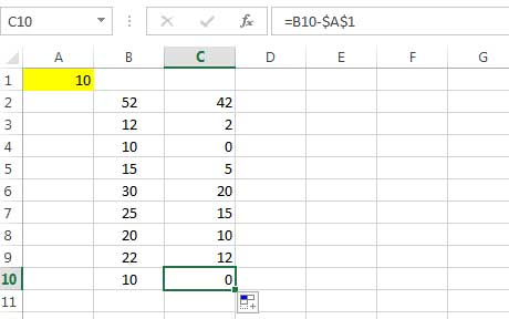 subtracting a number from the values of a column 3