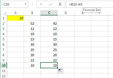 subtracting a number from the values of a column 4