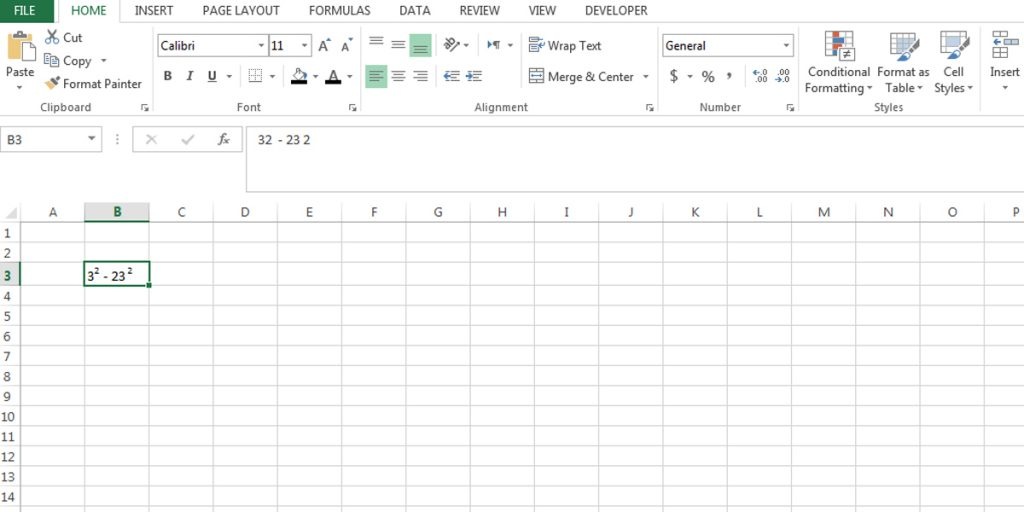after selecting superscript under the effect group of the format cells menu in Excel, you can easily do superscript to numbers