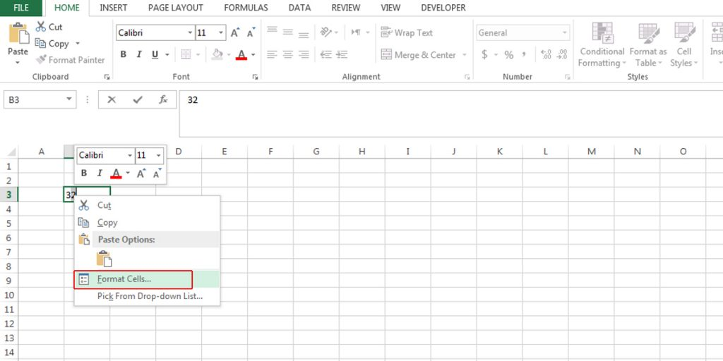 Right-click on the selected value and choose Format Cells