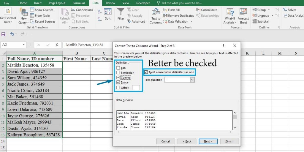 How to split cells in Excel using Text to Column wizard: step 2