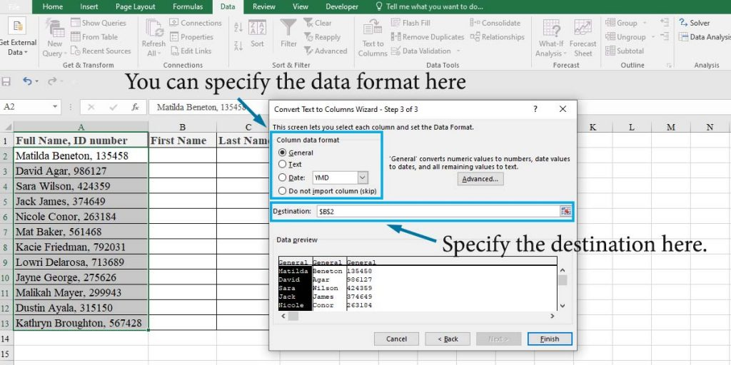 How to split cells in Excel using Text to Column wizard: step 3