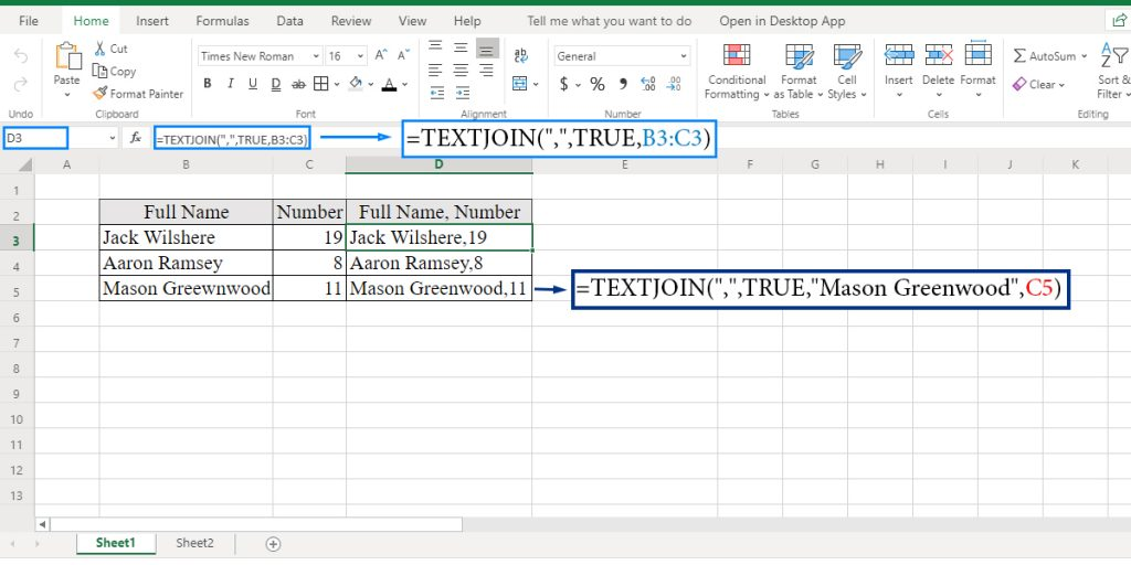How to concatenate using the TEXTJOIN function in Excel