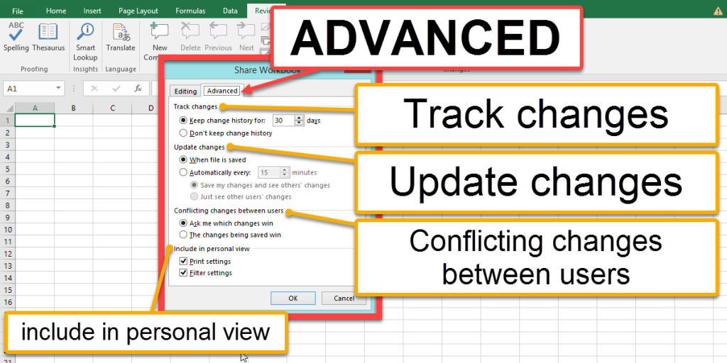 An Advanced tab to assess how changes should be handled
