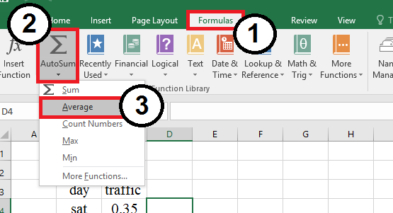 Add a quick calculation to your worksheet, such as the AVERAGE.