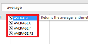 The average is provided in the Excel in 4 functions.