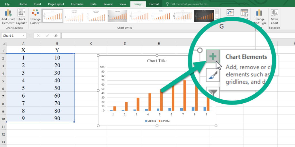 The Chart Element button in Excel.