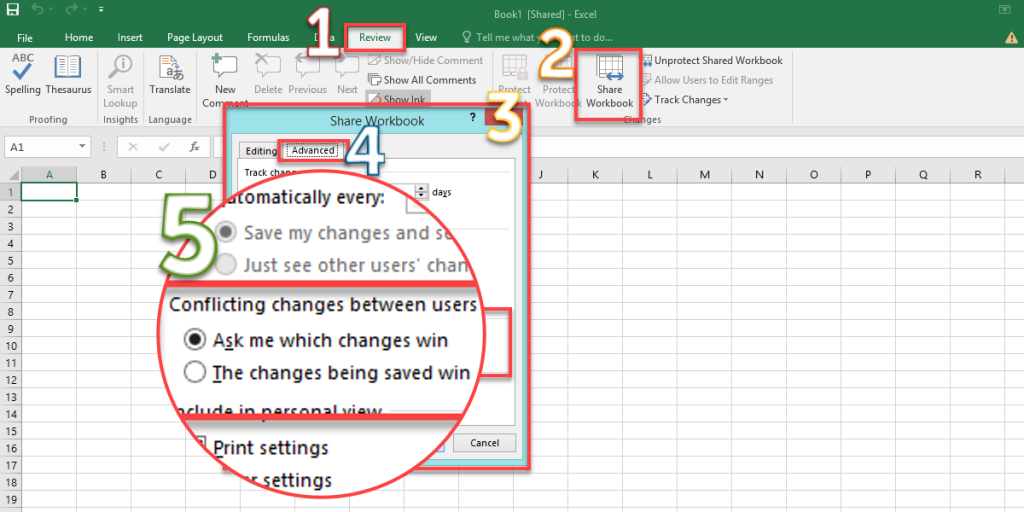 Conflicting changes between users on the Shared Workbook in the Excel