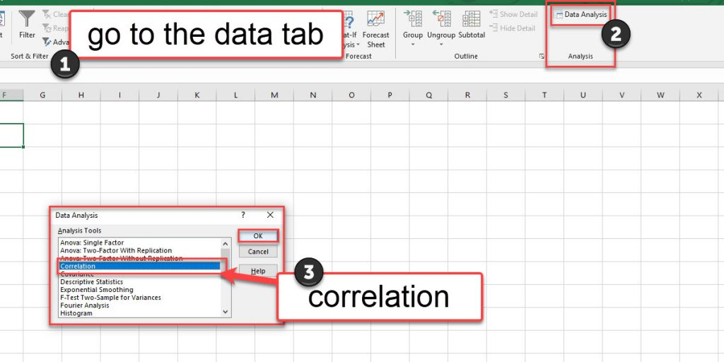 Use the Correlation tool from the Data Analysis tools to calculate the correlation coefficient.