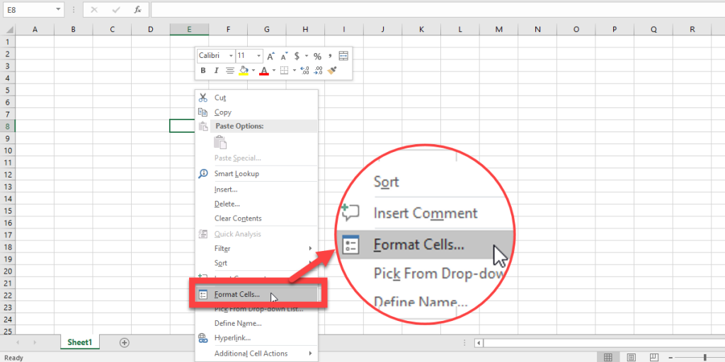 The Format Cells options in Excel