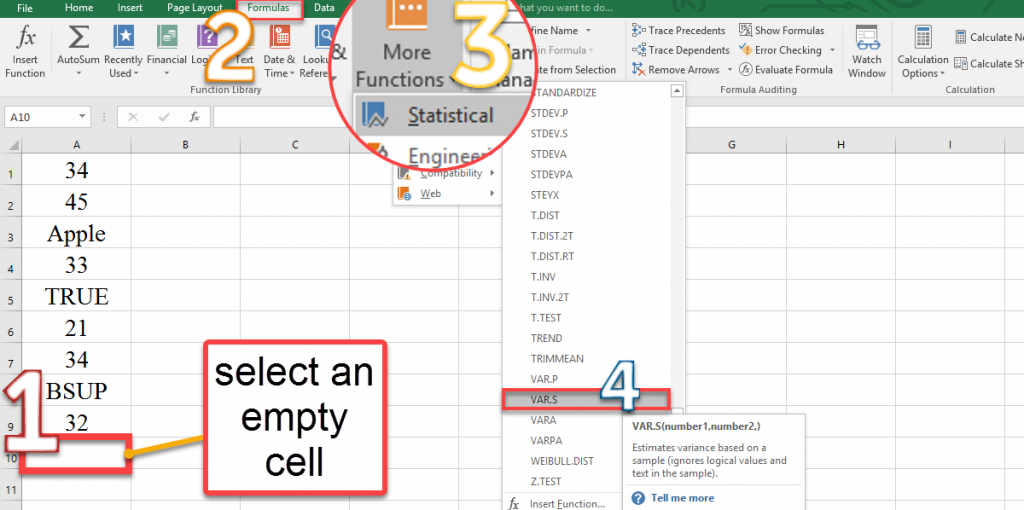 How to calculate the VAR.S function by the More Functions option