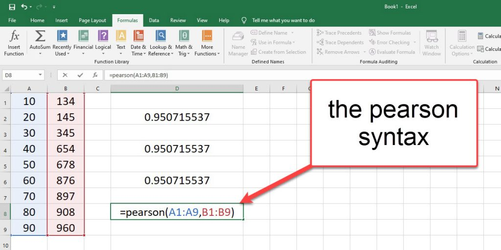 Enter the PEARSON syntax to calculate the correlation coefficient