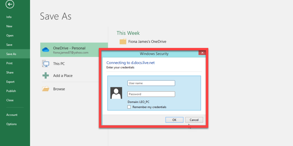 If Windows security appears, enter your Microsoft email and password