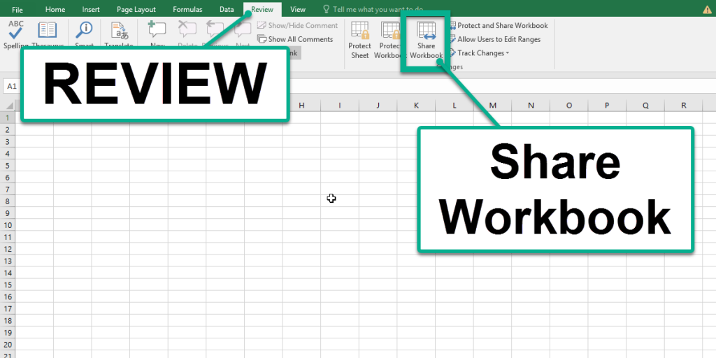 Use Share Workbook to Share Excel 2016