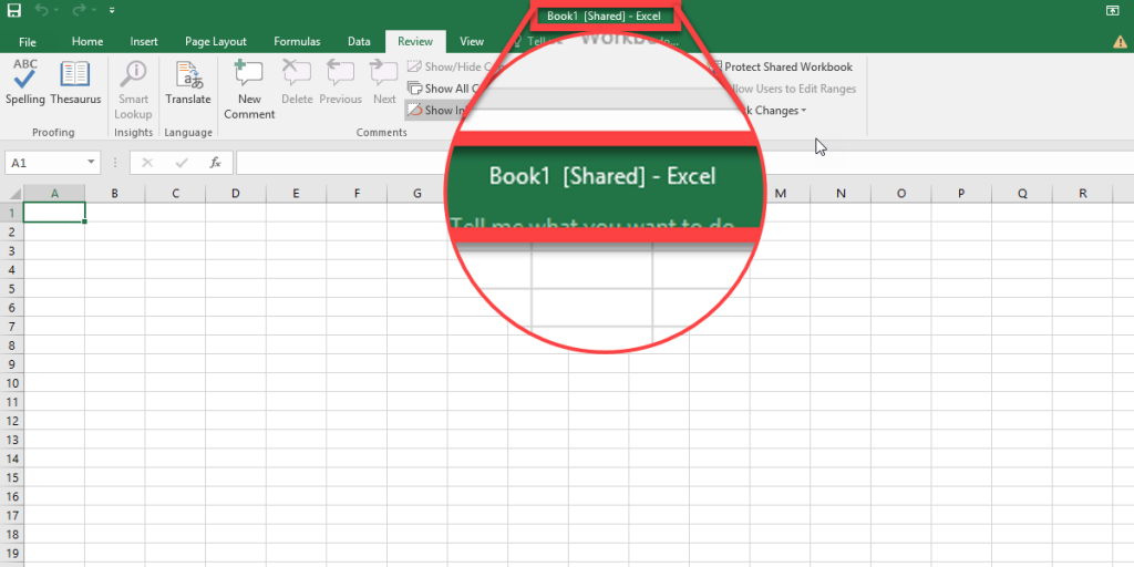 If you share the Excel file right, [Shared] passage will appear next to the filename