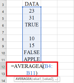 The syntax of the AVERAGEA function works like the AVERAGE.