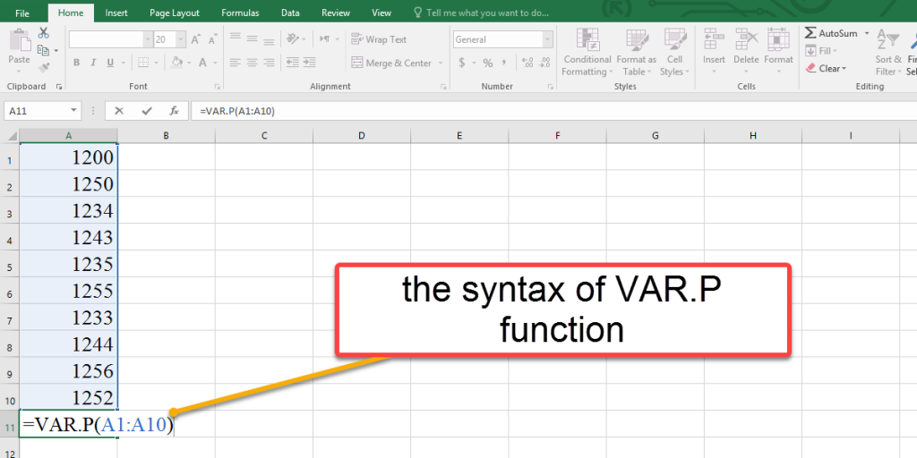 How to use the syntax of VAR.P function in Excel
