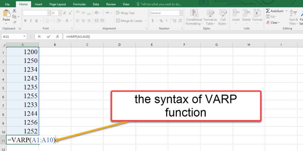 How to use the syntax of VARP function in Excel