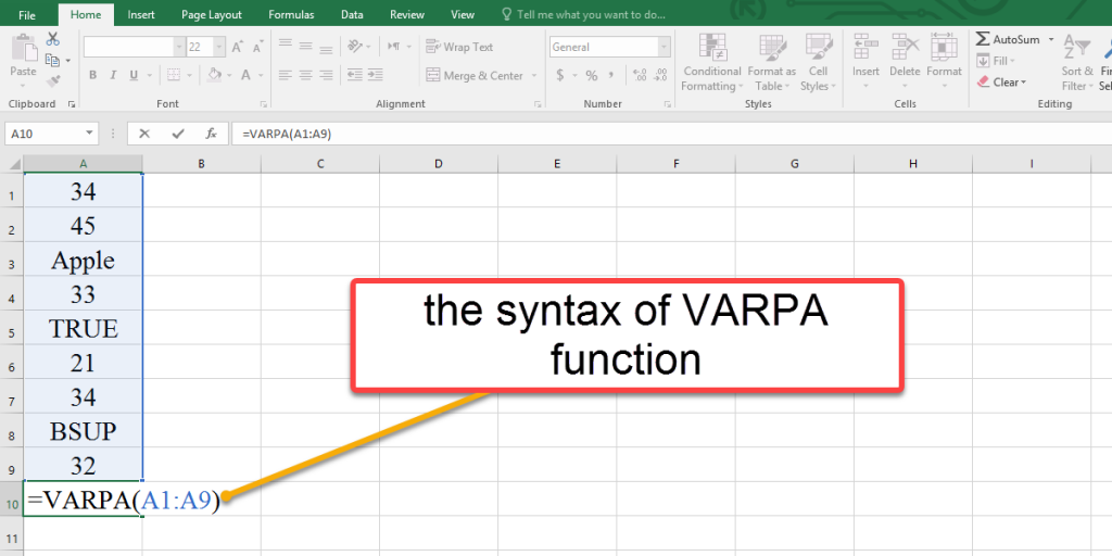 How to use the syntax of VARPA function in Excel