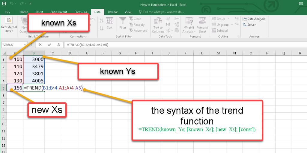 How to use the Trend function in Excel?